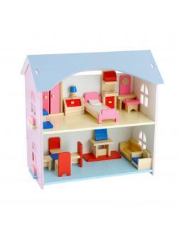 Детский кукольный двухэтажный дом с мебелью.