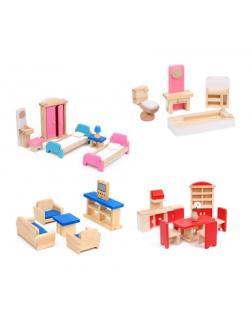 Набор цветной деревянной мебели для кукольного домика.