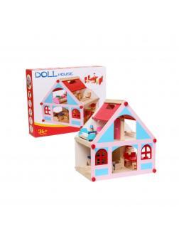 Деревянный кукольный домик с мебелью. Голубые вставки.