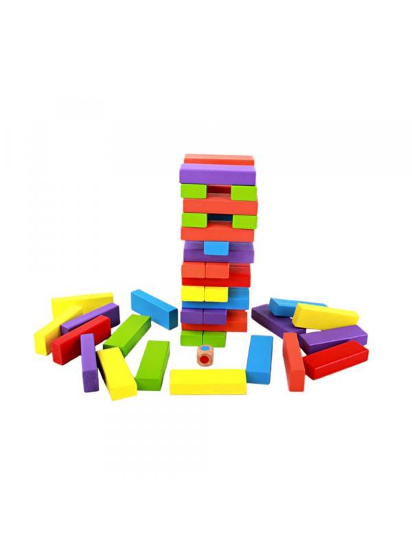 Радужная дженга с кубиком. 54 брусочка.