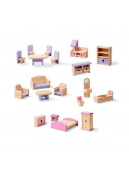 Набор деревянной мебели для кукольного домика.