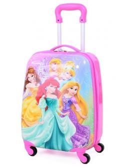 Детский чемодан Принцессы Диснея ярко-розовый. Размер S.