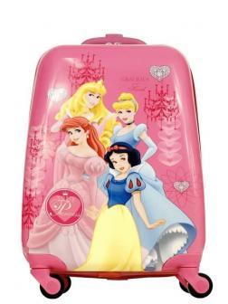 Детский чемодан на колесиках Принцессы Диснея розовый.