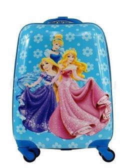 Детский чемодан Принцессы Диснея (Disney Princess) голубой.