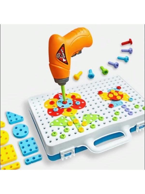 Конструктор - мозаика «Волшебная головоломка» в чемодане c шуруповертом 144 детали
