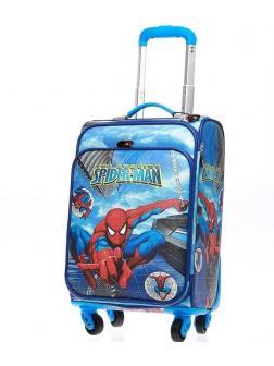 Детский чемодан Человек-паук синий. Размер S и M.