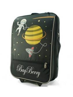 Детский чемодан BagBerry Космос чёрный