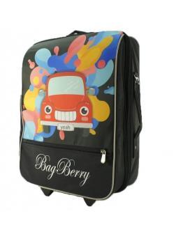 Детский чемодан BagBerry Машина чёрный