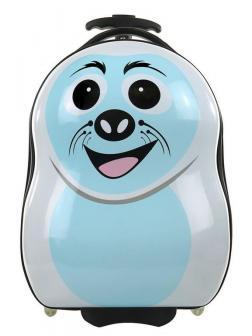Детский чемодан Морской котик голубой. Размер S.