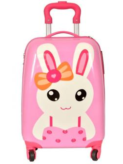 Детский чемодан Зайка розовый. Размер S