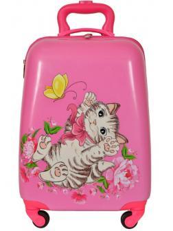 Детский чемодан Котёнок розовый. Размер S.