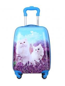 Детский чемодан Котята голубой. Размер S.