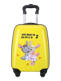 Детский чемодан Зайчики жёлтый. Размер S.