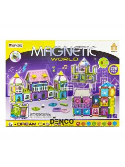 Магнитный конструктор Magnetic World «Замок Мечты» с шариками и палочками, свет, звук / 228 деталей