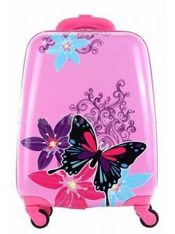 Детский чемодан Бабочка розовый. Розовый S.