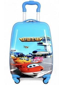 Детский чемодан Super Wings голубой. Размер S.