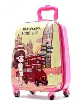 Детский чемодан Travelling light розовый. Размер S.