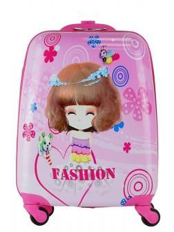 Детский чемодан Кукла розовый. Размер S.