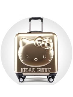 Детский чемодан 3D Hello Kitty (Хеллоу Китти) золотистый
