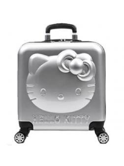 Детский чемодан 3D Hello Kitty (Хеллоу Китти) серебристый