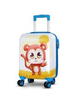 Детский чемодан Обезьянка белый Размер S.
