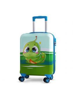 Детский чемодан Гусеница голубой Размер S.