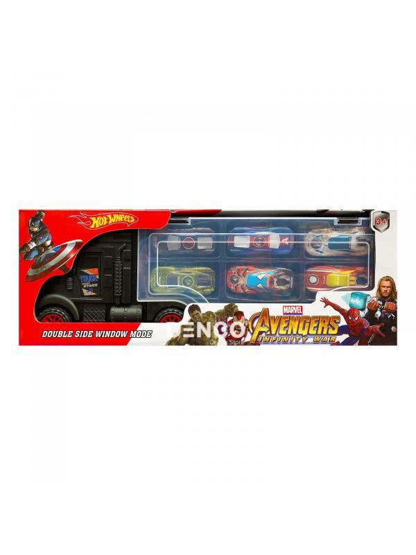 Автовоз чёрный Hot Wheels «Мстители» + 6 машинок