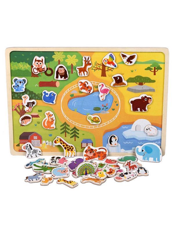 Деревянная игрушка Доска с магнитными Пазлами, Животные
