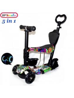 Детский Трехколесный Самокат Scooter 5 в 1 / Print Hip-Hop