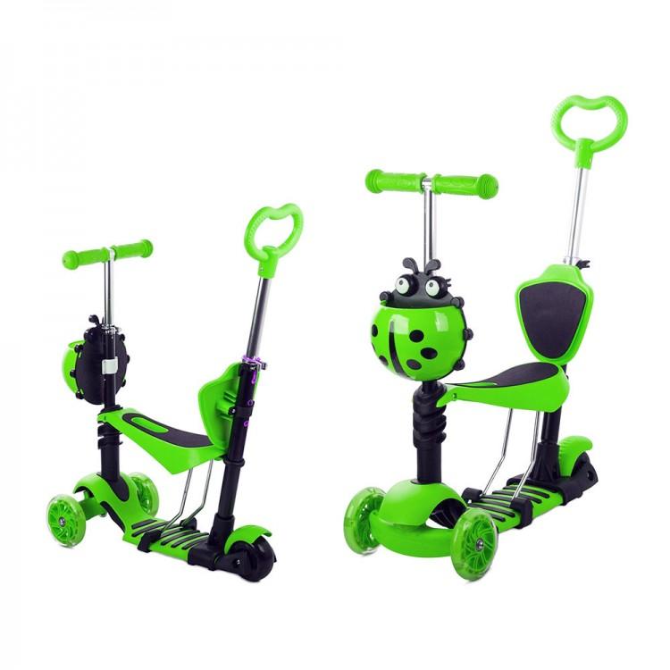 Детский Трехколесный Самокат Scooter 5 в 1 Божья коровка / Зелёный
