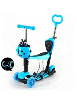 Детский Трехколесный Самокат Scooter 5 в 1 Божья коровка / Голубой