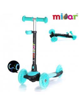 Детский Трехколесный Самокат Scooter Mini Micar Jet / Голубой