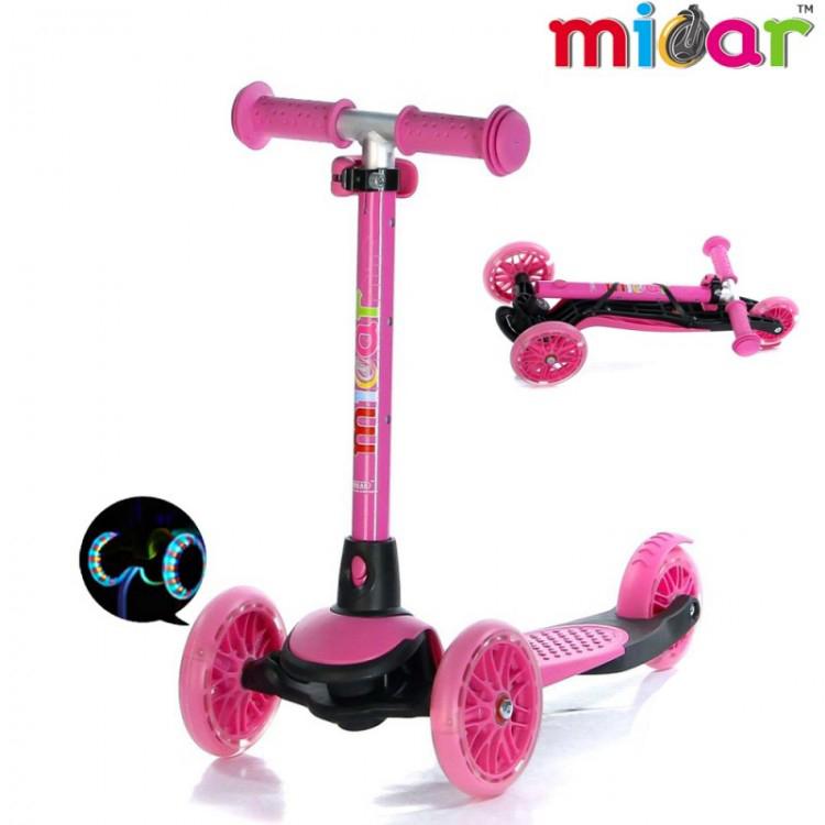 Детский Трехколесный Самокат Scooter Mini Micar Jet / Розовый