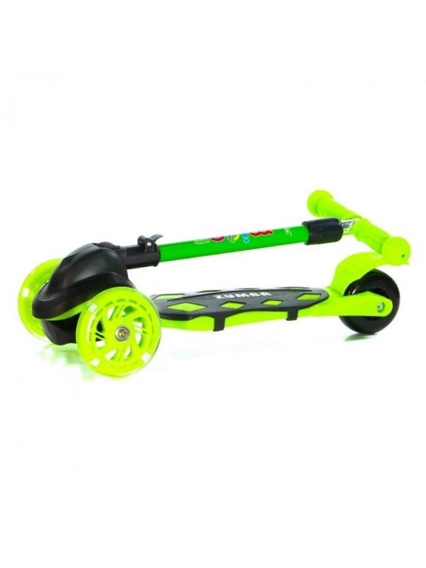 Детский Трехколесный Самокат Scooter Mini Micar Zumba / Чёрно-зелёный