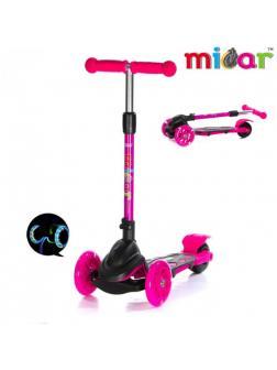 Детский Трехколесный Самокат Scooter Mini Micar Zumba / Чёрно-розовый