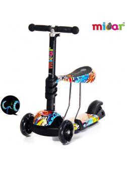 Детский Трехколесный Самокат-беговел Scooter  3 в 1 Scooter Micar Rider / Graffity