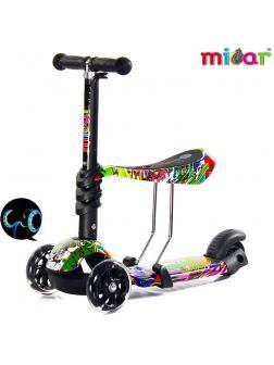 Детский Трехколесный Самокат-беговел Scooter  3 в 1 Scooter Micar Rider / Hip-Hop