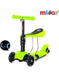Детский Трехколесный Самокат-беговел Scooter  3 в 1 Scooter Micar Rider / Зелёный