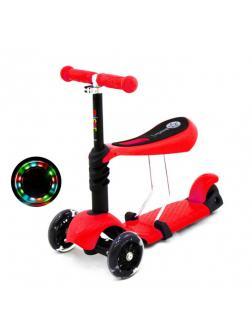 Детский Трехколесный Самокат-беговел Scooter  3 в 1 Scooter Micar Rider / Красный