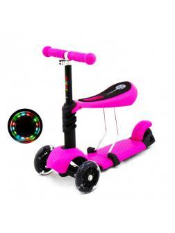 Детский Трехколесный Самокат-беговел Scooter  3 в 1 Scooter Micar Rider / Розовый