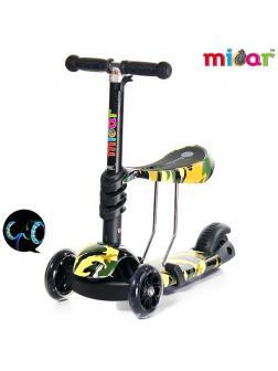 Детский Трехколесный Самокат-беговел Scooter  3 в 1 Scooter Micar Rider / Хаки
