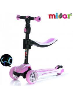 Детский Трехколесный Самокат с сиденьем Scooter  3 в 1 Scooter Micar Moby / Розовый