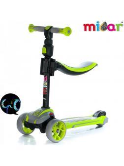 Детский Трехколесный Самокат с сиденьем Scooter  3 в 1 Scooter Micar Moby / Серо-зелёный