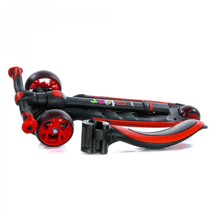 Детский Трехколесный Самокат с сиденьем Scooter  3 в 1 Scooter Micar Moby / Чёрно-красный