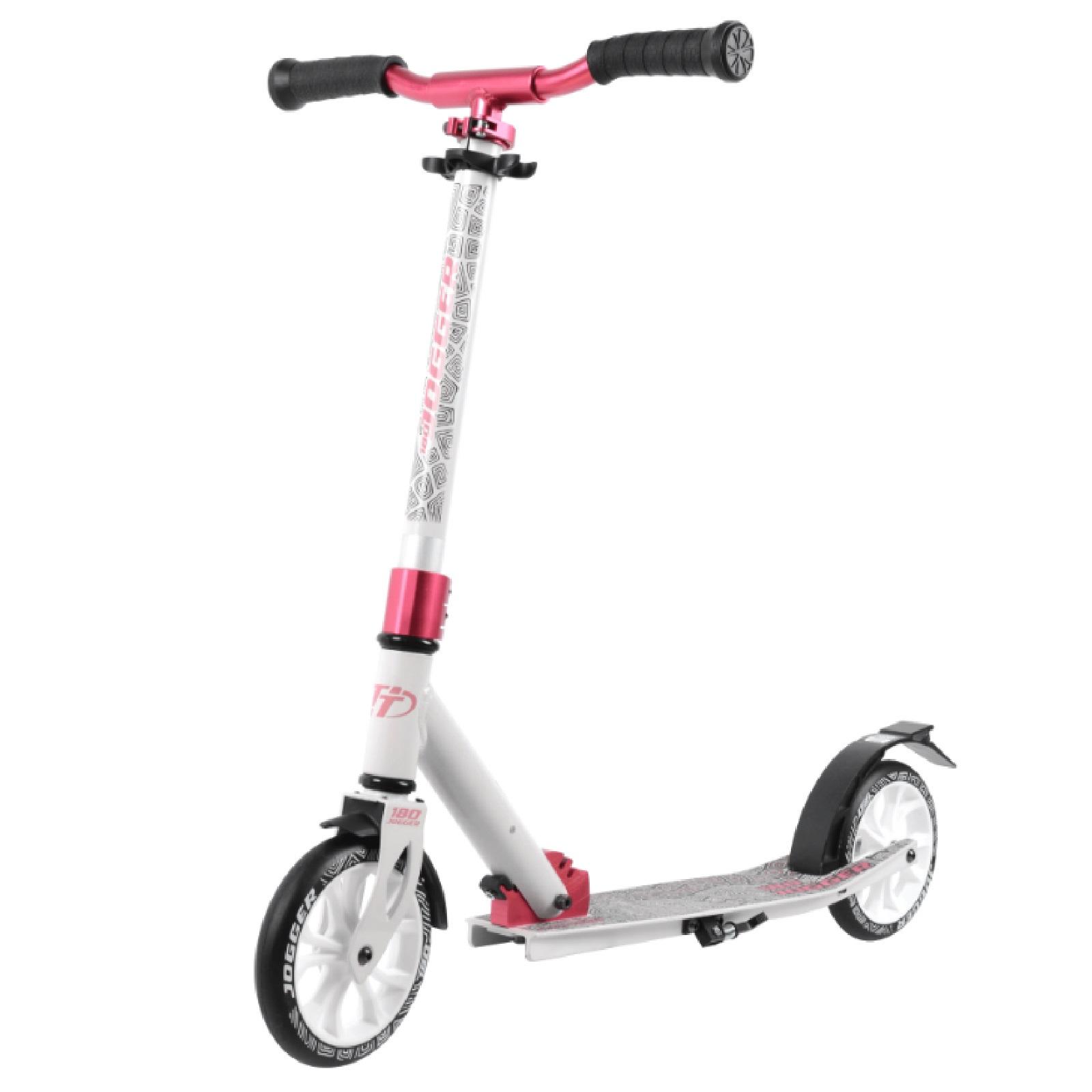 Детский складной самокат TechTeam Jogger 180 2020 / Бело-розовый